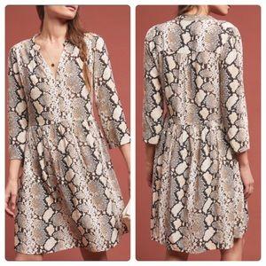 Anthropologie Maeve Juno Snake Printed Dress XS